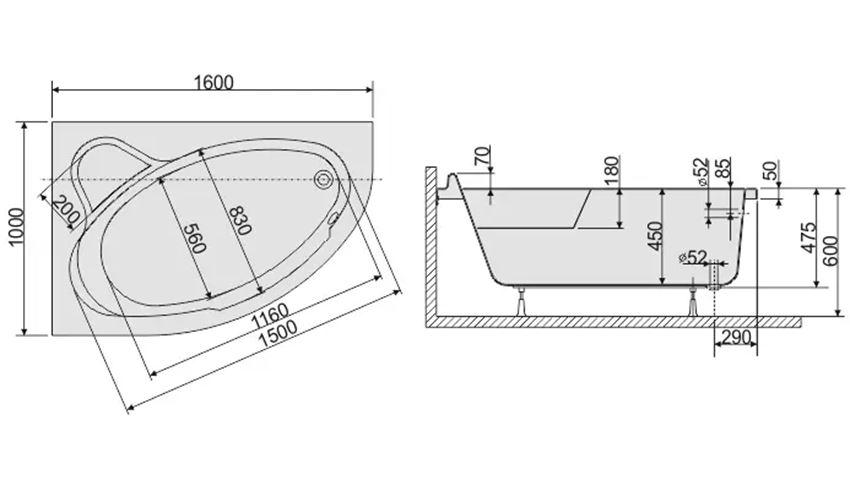 Wanna asymetryczna lewa 100x160 cm Sanplast Comfort rysunek