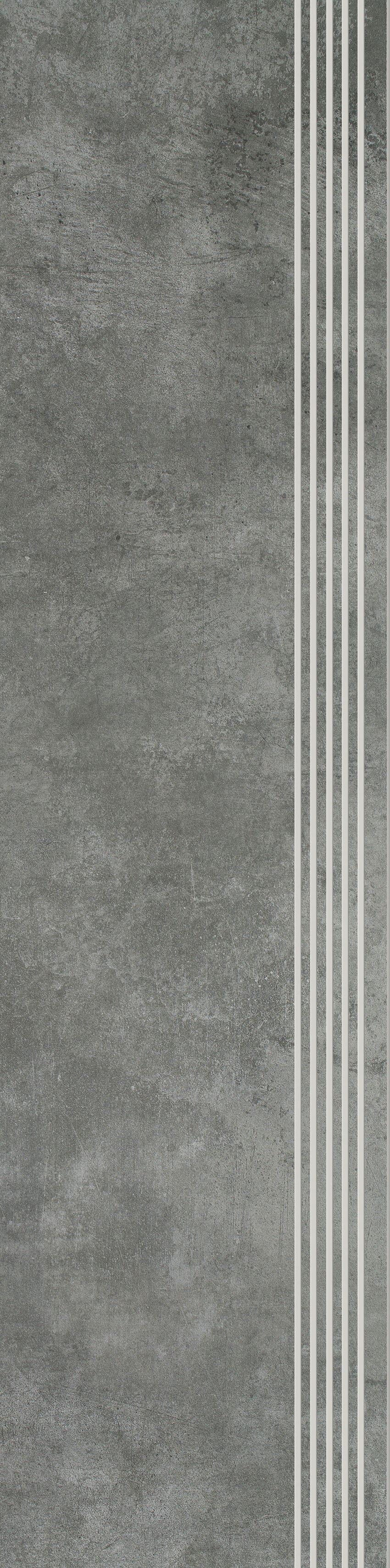 Płytka stopnicowa 29,8x119,8 cm Paradyż Scratch Nero Stopnica Prosta Nacinana Półpoler