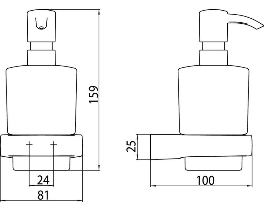 Dozownik do mydła w płynie Emco Trend rysunek techniczny