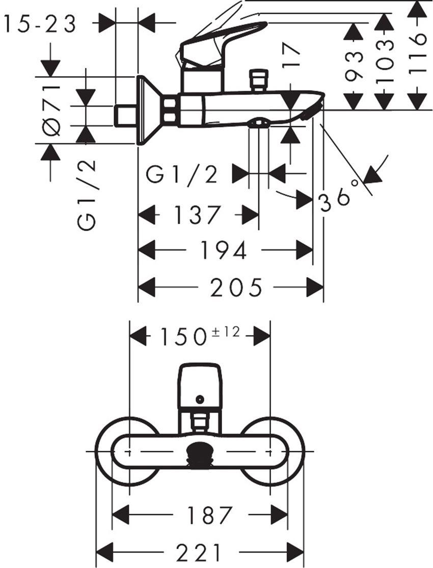 Jednouchwytowa bateria wannowa Hansgrohe Logis rysunek techniczny