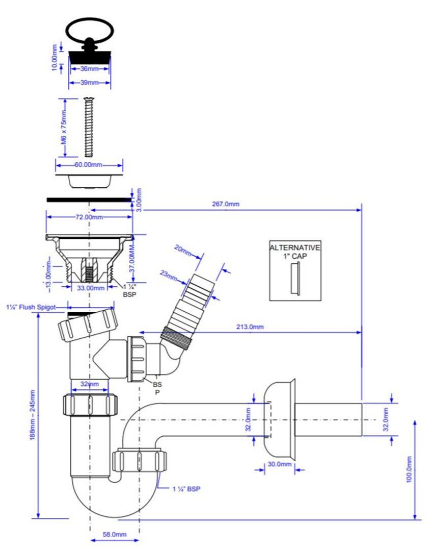 McAlpine HC4PF-32WM+HC15B rys techniczny