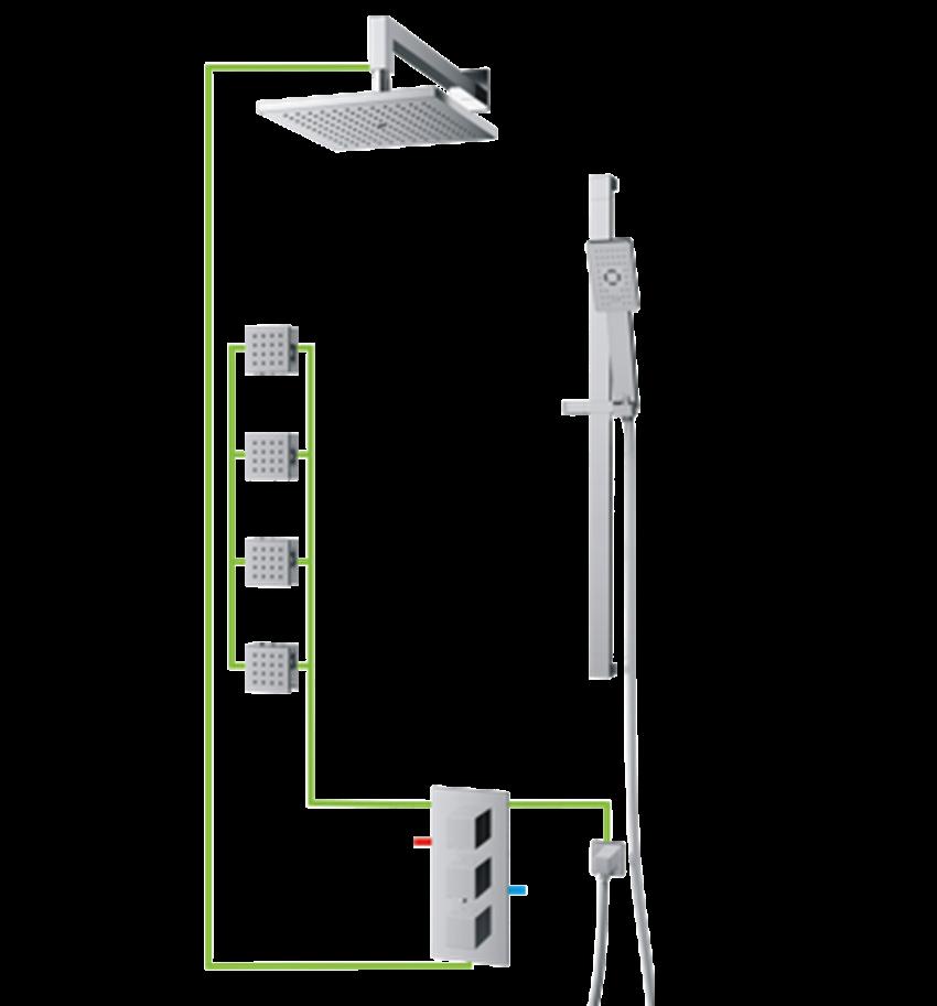 Kompletny łazienkowy system podtynkowy termostatyczny Omnires Fresh