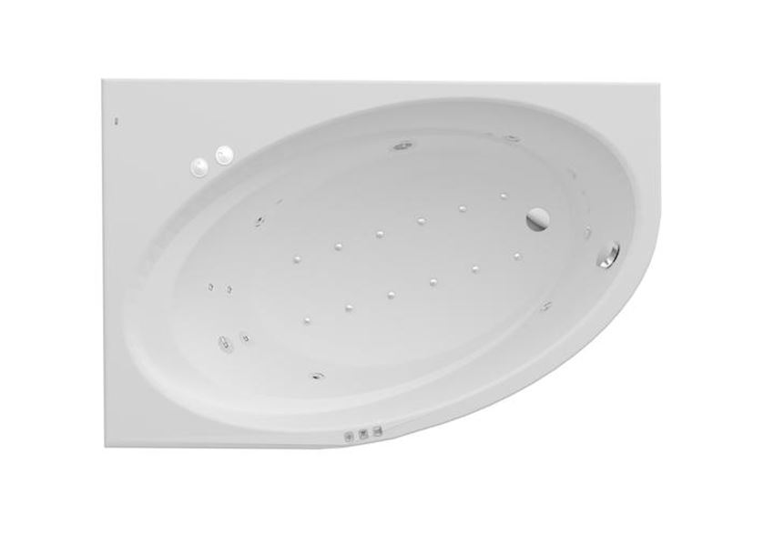 Asymetryczna narożna wanna akrylowa z hydromasażem Smart WaterAir Plus 150x100x44 cm Roca Orbita