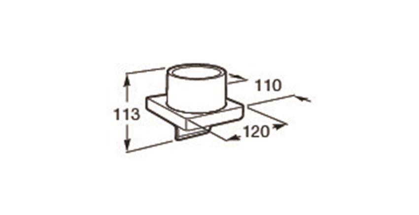 Dozownik szklany ścienny 12x11x13 cm Roca Tempo rysunek techniczny