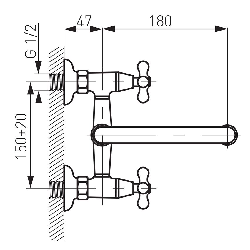 Bateria umywalkowa ścienna Ferro Retro rysunek techniczny