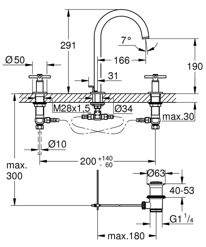 Bateria umywalkowa 3-otworowa rozmiar M 29,1 cm Grohe Atrio rysunek techniczny