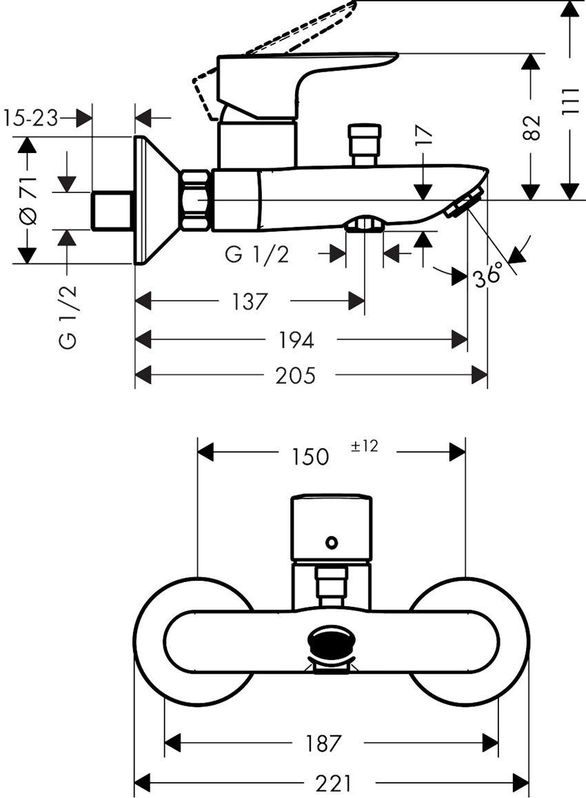 Jednouchwytowa bateria wannowa montaż natynkowy Hansgrohe Talis E rysunek techniczny