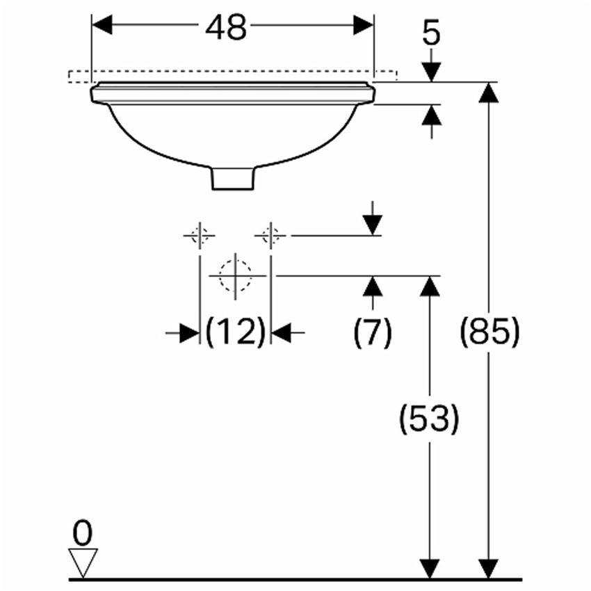 Umywalka podblatowa owalna 42x39 cm Koło VariForm rysunek techniczny