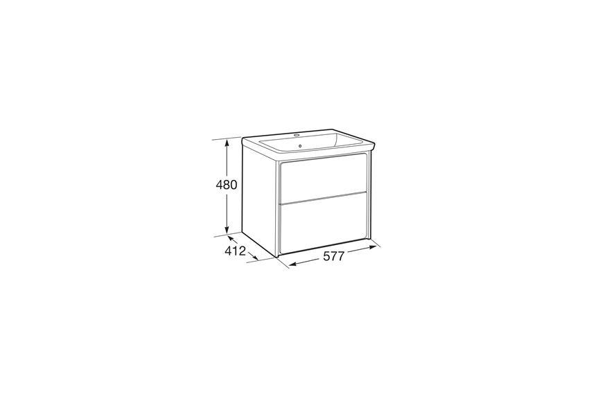 Zestaw łazienkowy Unik z 2 szufladami 60x41,2x48 cm Roca Ronda rysunek techniczny