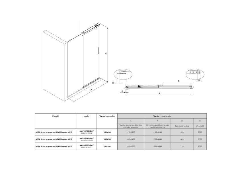 Drzwi przesuwne z powłoką MaxiClean prawe Roca Area rysunek techniczny
