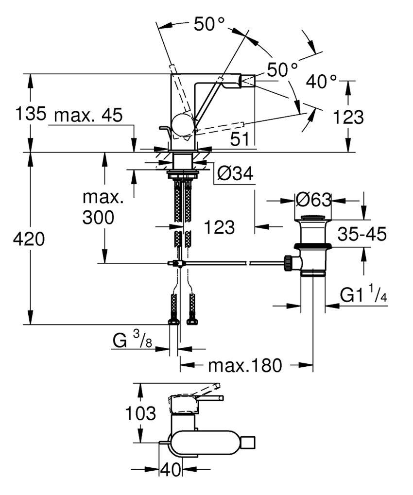 Bateria bidetowa jednouchwytowa Grohe Plus rysunek techniczny