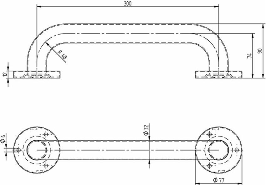Poręcz prosta 30 cm Koło Lehnen Concept Pro rysunek techniczny