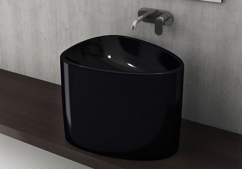 Umywalka nablatowa Glossy Black Bocchi Etna