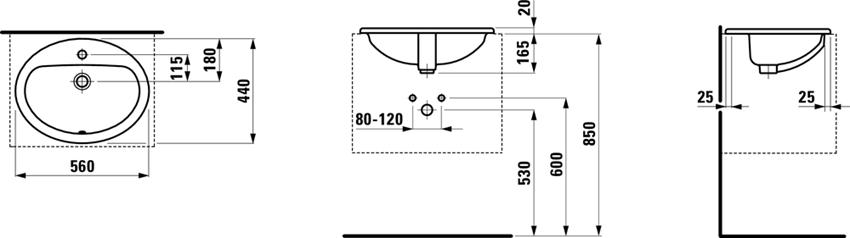 Umywalka wpuszczana w blat 56 cm Laufen Pro rysunek