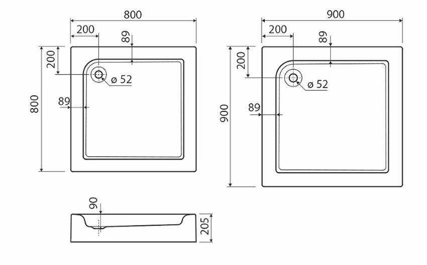 Brodzik kwadratowy ze zintegrowaną obudową Koło Standard Plus rysunek techniczny