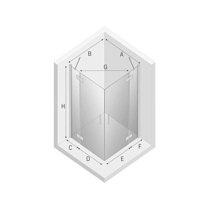 Kabina prysznicowa z podwójnymi drzwiami New Trendy New Renoma rysunek techniczny