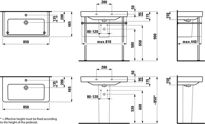 Umywalka 85 cm Laufen Pro S rysunek techniczny