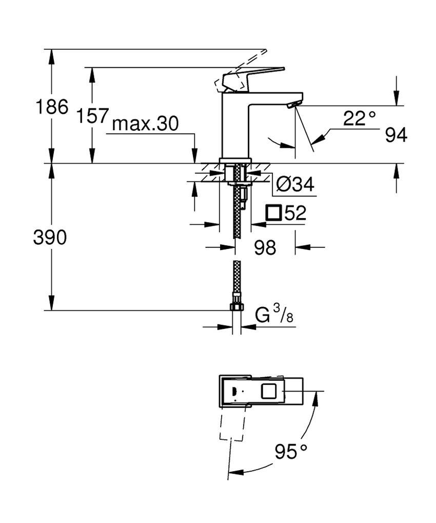 Bateria umywalkowa rozmiar S 15,7 cm Grohe Eurocube rysunek techniczny