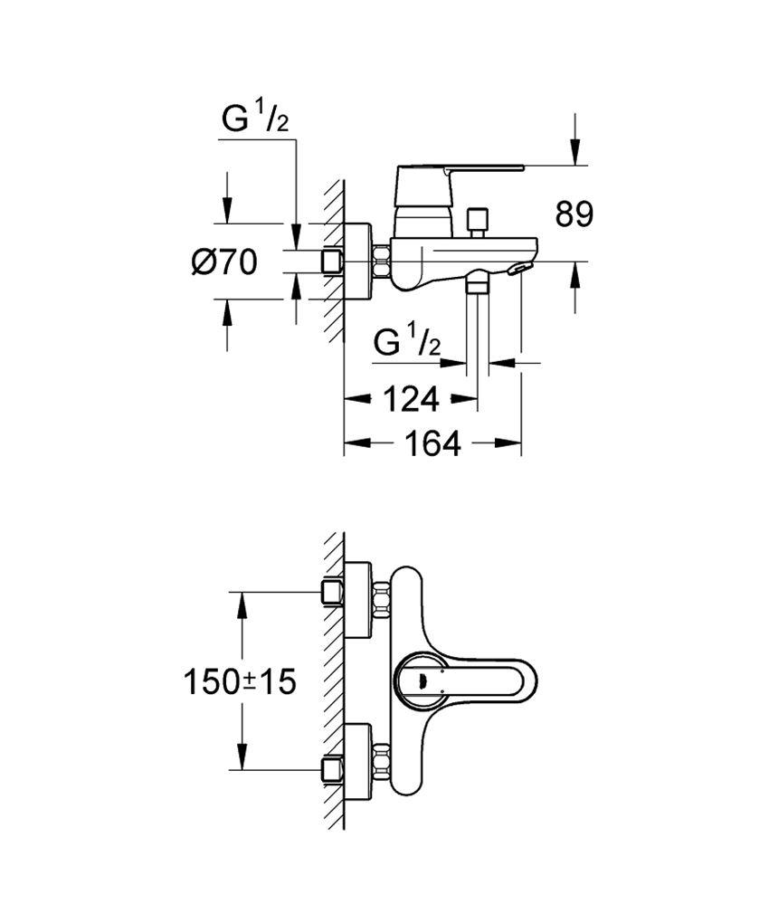Jednouchwytowa bateria wannowa Grohe Get rysunek techniczny