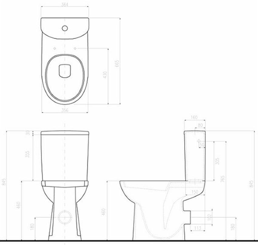 Miska kompaktowa lejowa dla osób niepełnosprawnych Koło Nova Pro Bez Barier rysunek techniczny