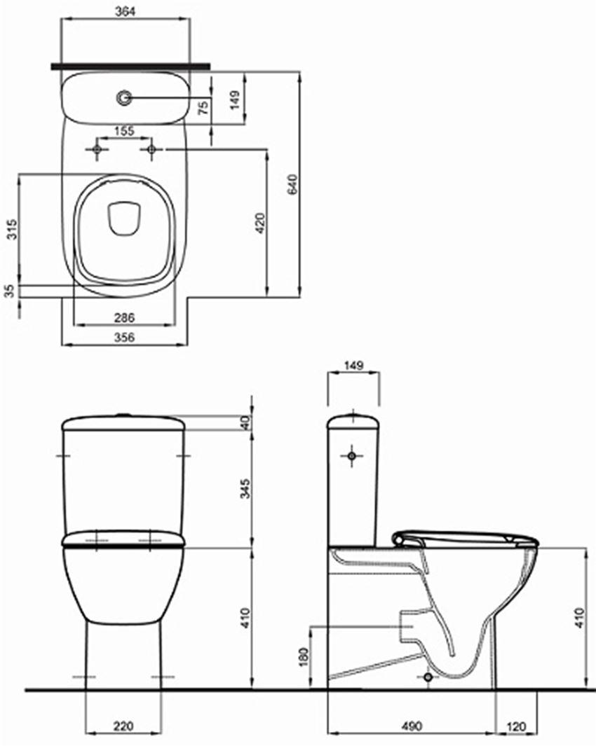 Zestaw WC kompakt Rimfree Koło Style rysunek techniczny