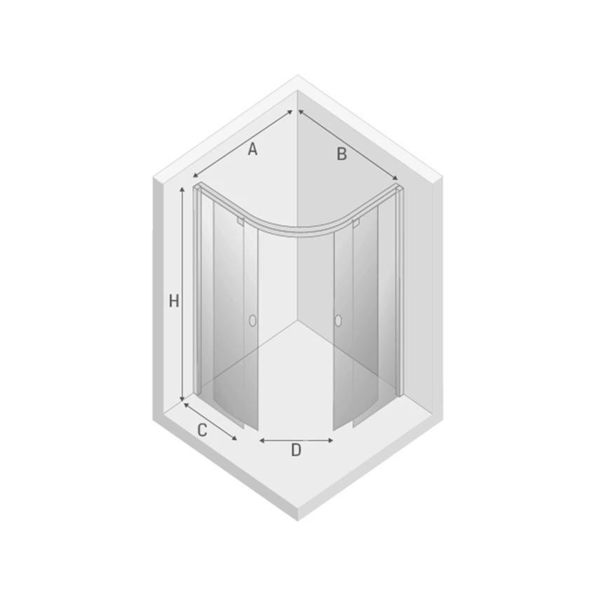 Kabina prysznicowa półokrągła New Trendy Porta rysunek techniczny