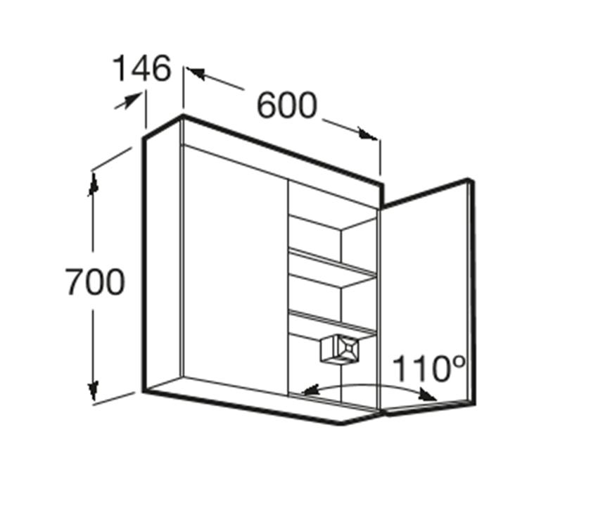 Szafka łazienkowa z lustrem 60x14,6x70 cm Roca Luna rysunek