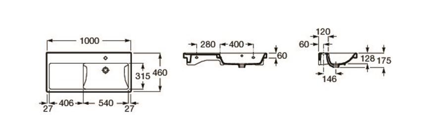 Umywalka ścienna asymetryczna 100x46x17,4 cm Roca Alter rysunek techniczny