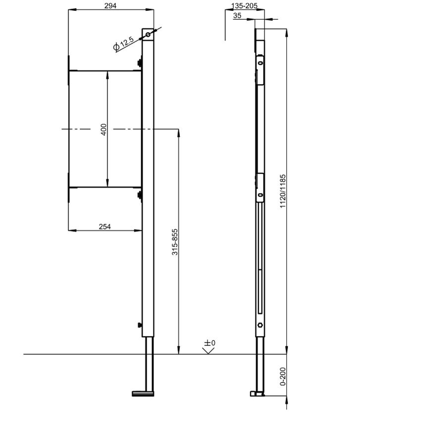 Stelaż podtynkowy do mocowania poręczy i uchwytów w łazienkach bez barier w układzie prawostronnym Franke Aquafix rysunek techniczny