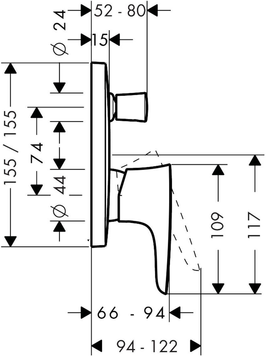 Jednouchwytowa bateria wannowa podtynkowa element zewnętrzny Hansgrohe PuraVida rysunek techniczny
