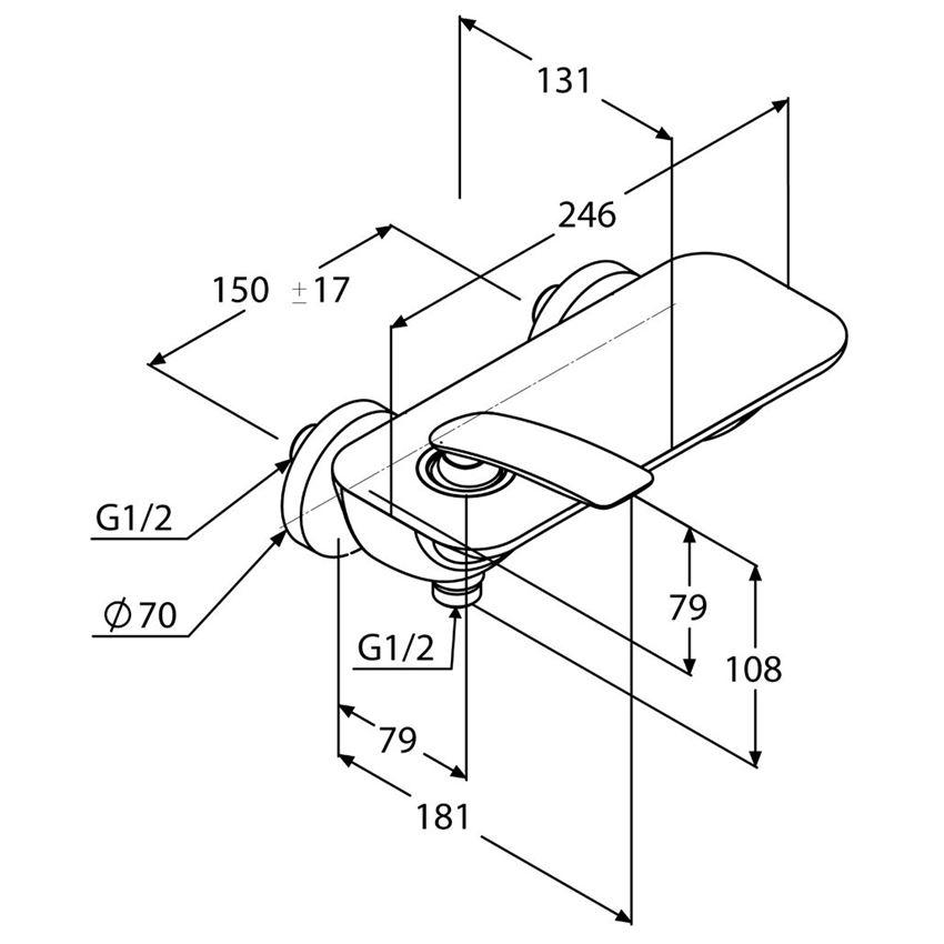Bateria prysznicowa jednouchwytowa Kludi Balance rysunek techniczny