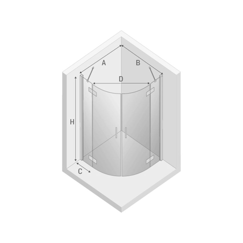 Kabina prysznicowa z podwójnymi drzwiami New Trendy New Merana rysunek techniczny