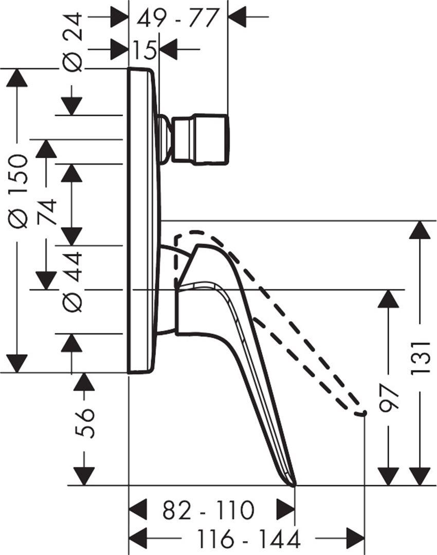 Jednouchwytowa bateria wannowa podtynkowa Kludi Novus rysunek techniczny
