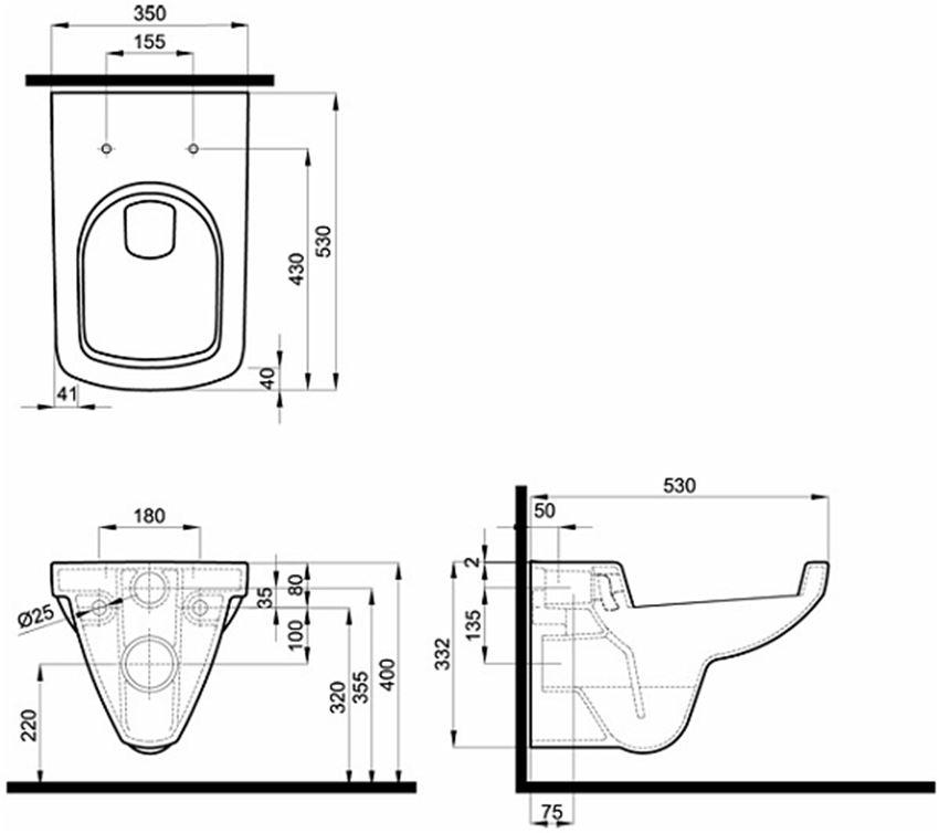 Miska ustępowa prostokątna 35x53 cm Koło Nova Pro rysunek techniczny
