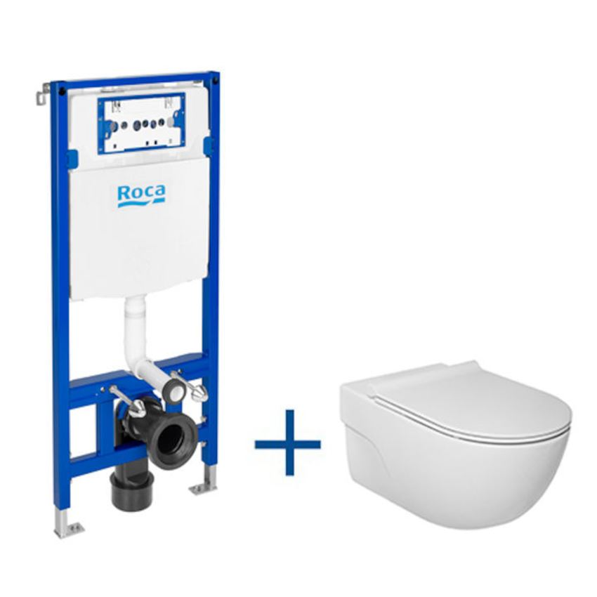 Zestaw podtynkowy Duplo One + miska WC podwieszana Rimless z deską Slim Roca Meridian