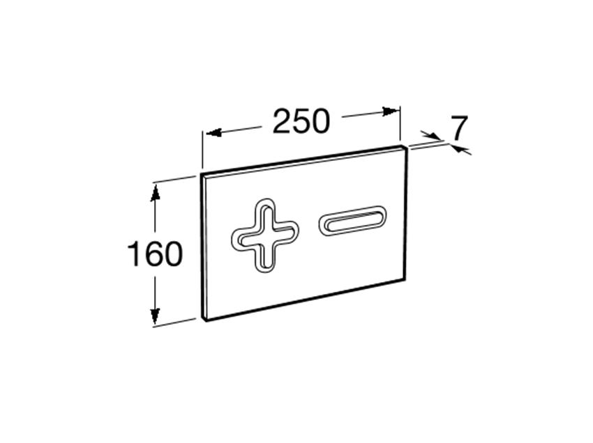 PL6 - przycisk 2-funkcyjny Roca Stelaże podtynkowe rysunek techniczny