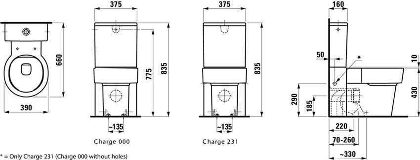 Miska WC stojąca do kompaktu 66x39x43 cm Laufen Val rysunek techniczny