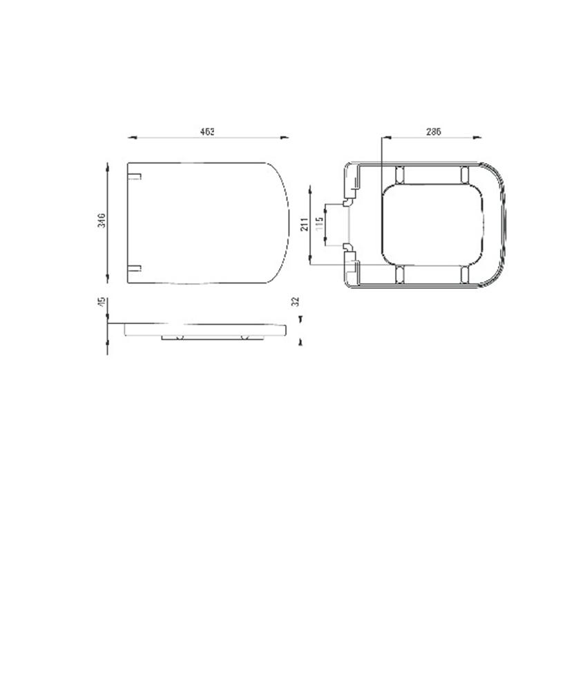 Deska wolnoopadająca Deante Hiacynt rysunek techniczny