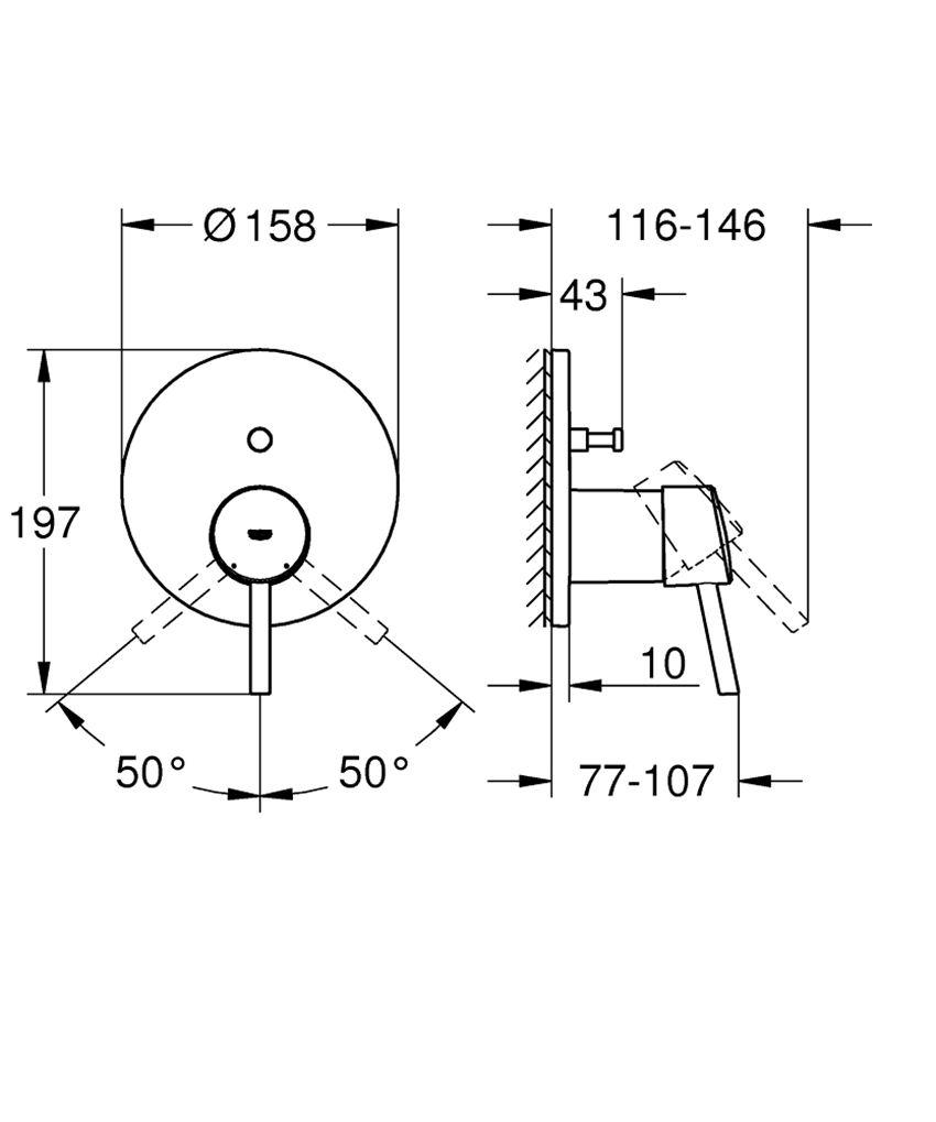 Jednouchwytowa bateria wannowa Grohe Concetto rysunek techniczny