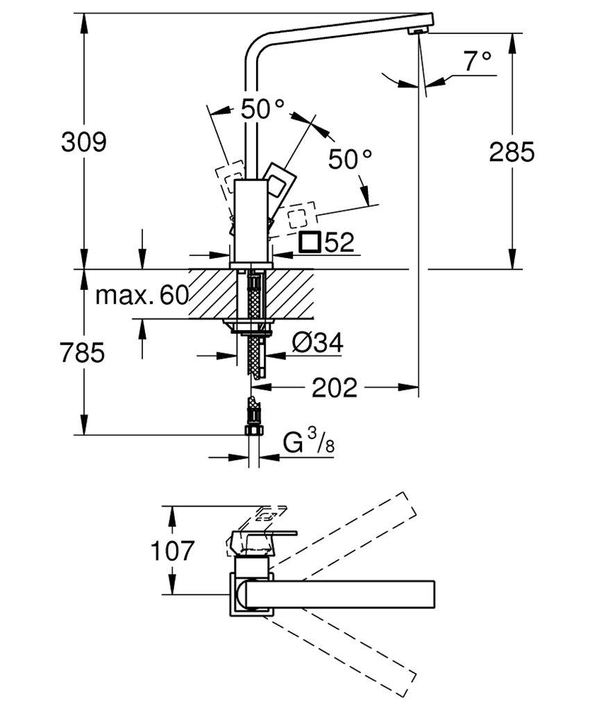 Jednouchwytowa bateria kuchenna stal nierdzewna 30,9 cm Grohe Eurocube rysunek techniczny