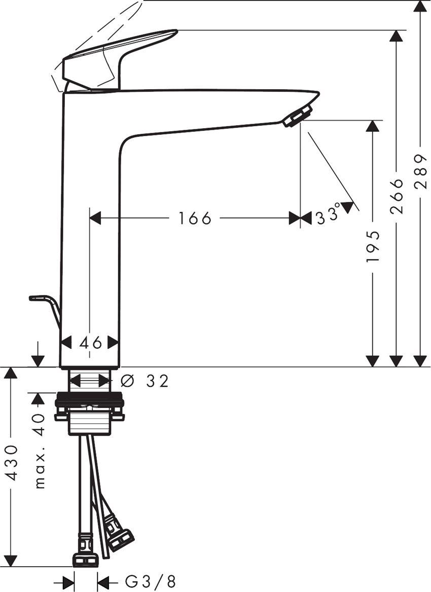 Jednouchwytowa bateria umywalkowa Hansgrohe Logis rysunek techniczny