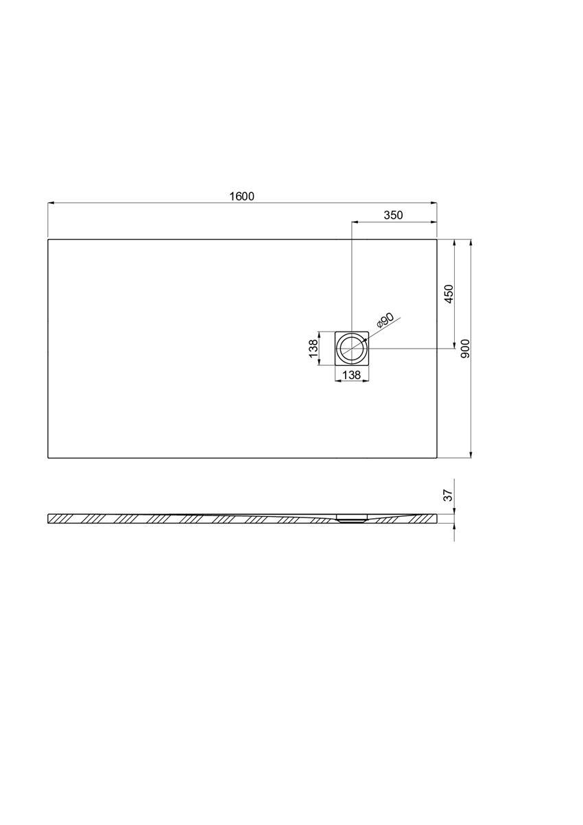 Brodzik kompozytowy 160x90x3,7 cm Roca Ignis rysunek techniczny