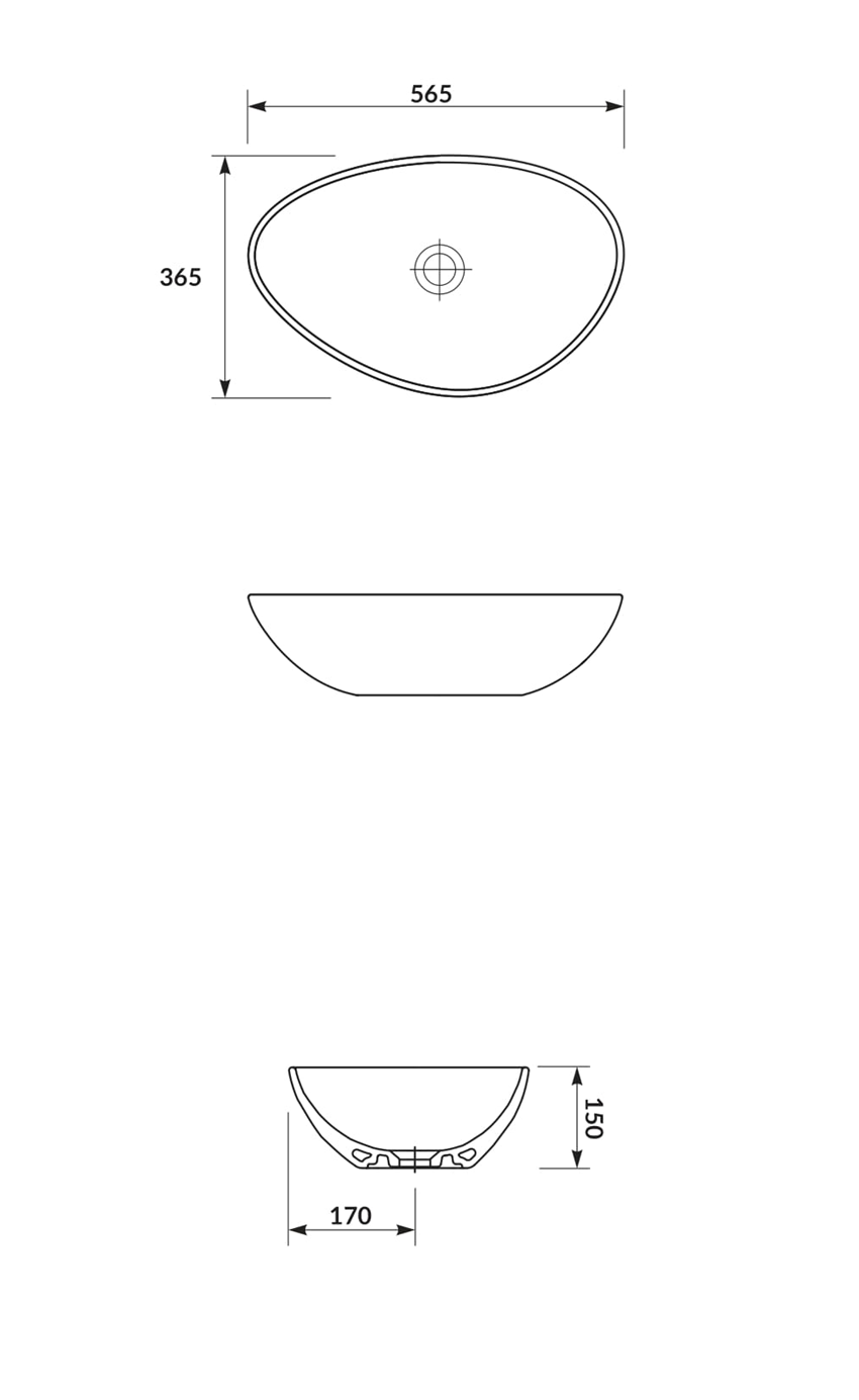 Umywalka nablatowa 55 cm Cersanit Moduo rysunek
