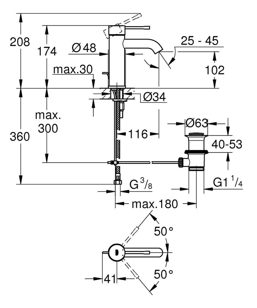 Bateria umywalkowa rozmiar S stal nierdzewna 17,4 cm Grohe Essence rysunek techniczny
