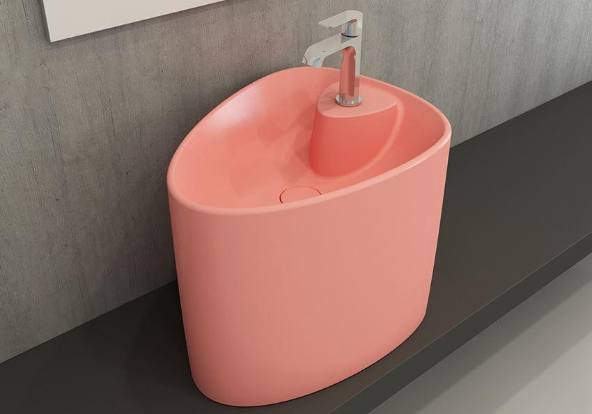 Umywalka nablatowa monoblok Matte Salmon Bocchi Etna