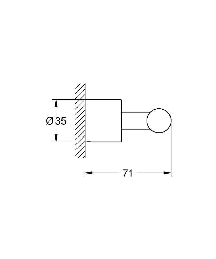 Haczyk na płaszcz kąpielowy Grohe Atrio rysunek techniczny