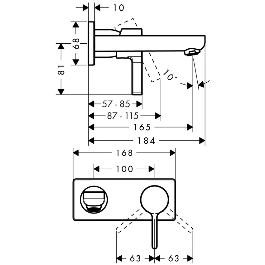 Jednouchwytowa bateria umywalkowa Hansgrohe Metris S rysunek