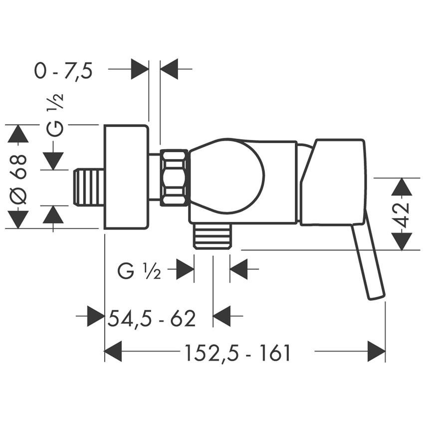 Jednouchwytowa bateria prysznicowa Hansgrohe Talis S rysunek techniczny