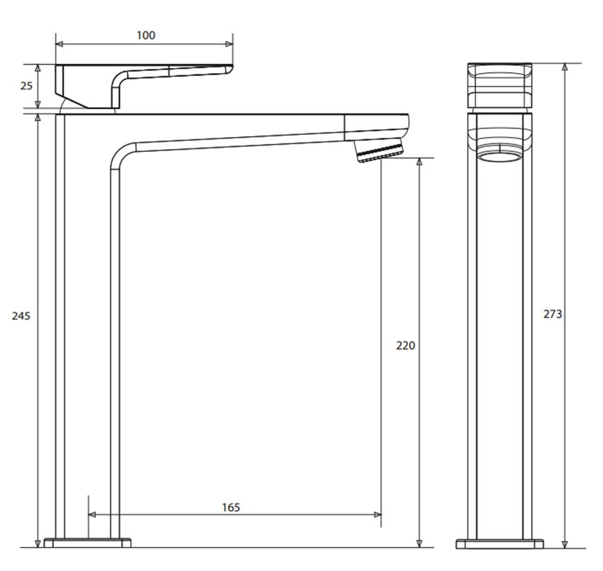 Bateria umywalkowa wysoka Omnires Siena rysunek techniczny