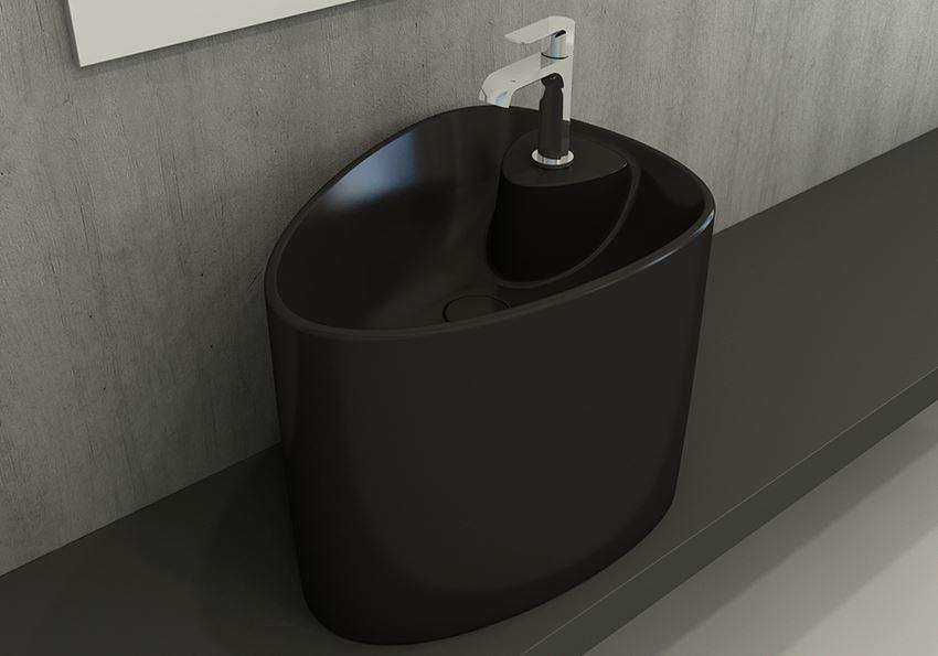Umywalka nablatowa monoblok Matt Black Bocchi Etna